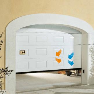 porta bianca di un garage con frecce arancioni e blu