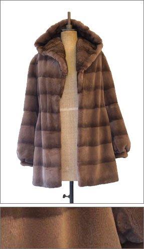 fur coat with hood