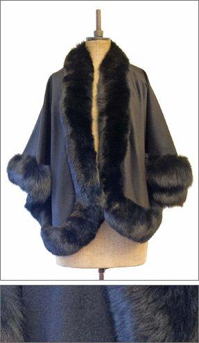 black cape with fur trim