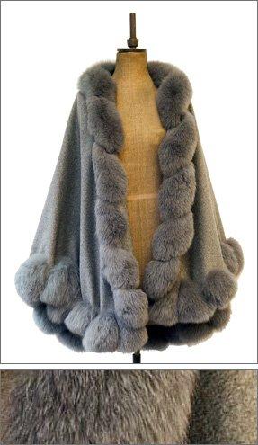 grey fluffy fur cape