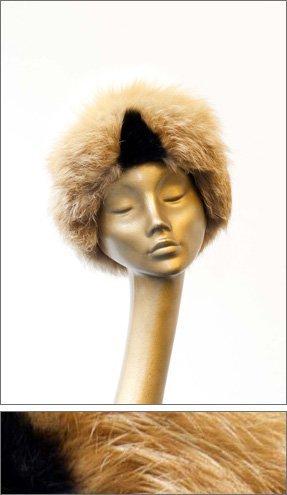 cream fur hat