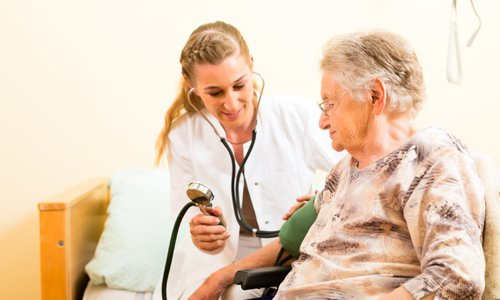 Doctors treating a resident of an assisted living center in Montgomery, OH