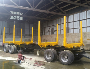 Yellow paint job on truck parts