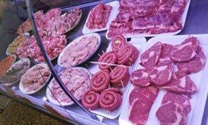 della carne in esposizione