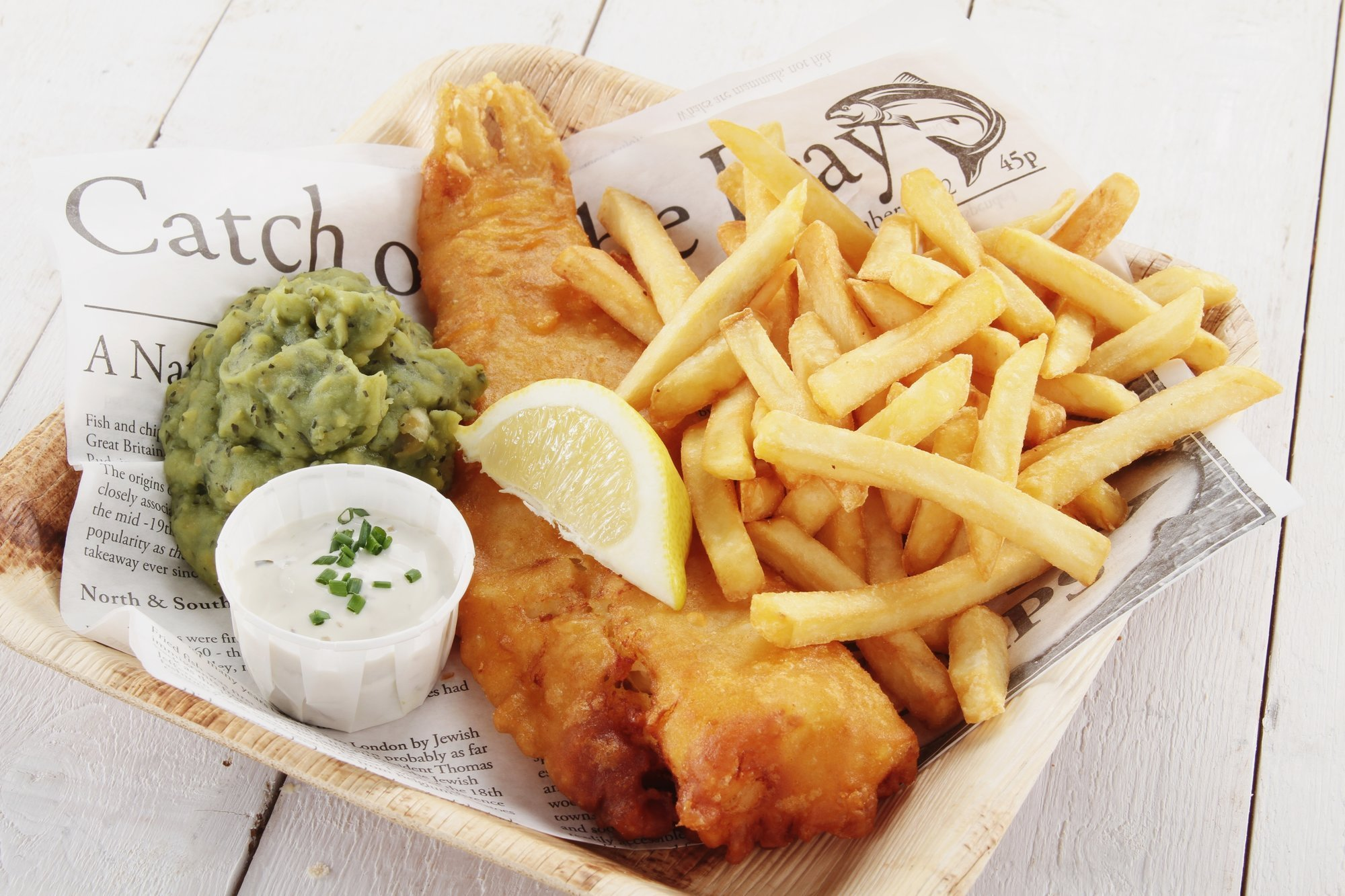 Delicious fish and chips being served at the restaurant