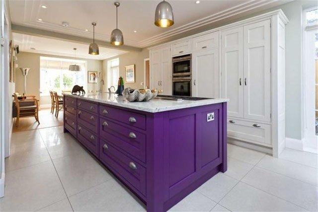 purple dominant kitchen interiors