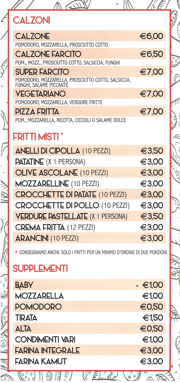 menù pizzeria Pagani modena