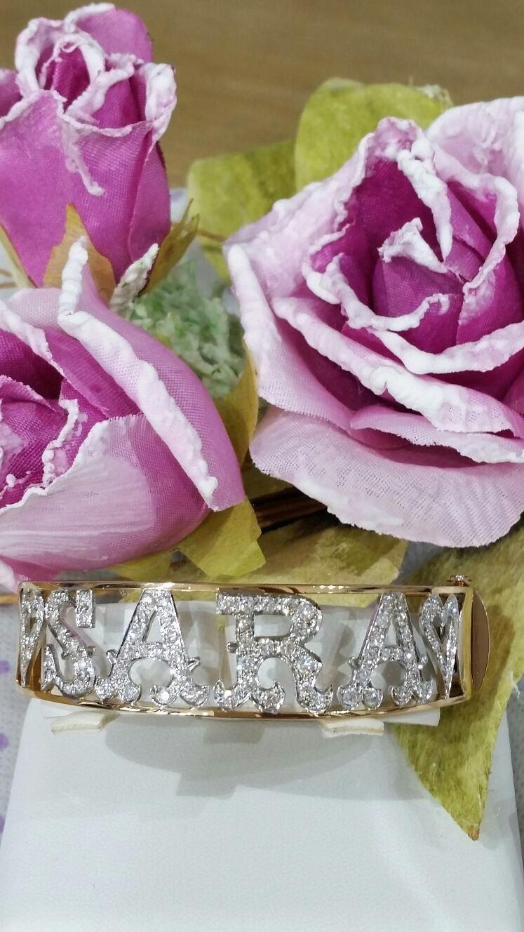 bracciale rigido in oro giallo e bianco con diamanti personalizzato creato a mano