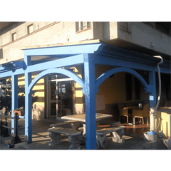 veranda legno lamellare azzurro