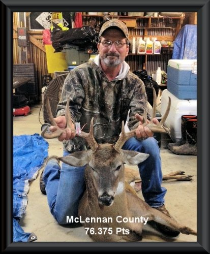 Rick Sulak at 3rd  position in the big buck contest 2015 in Clifton, TX