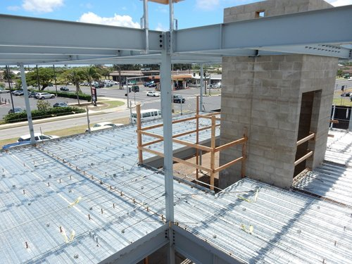 Building under construction by industrial contractor in Kahului, HI