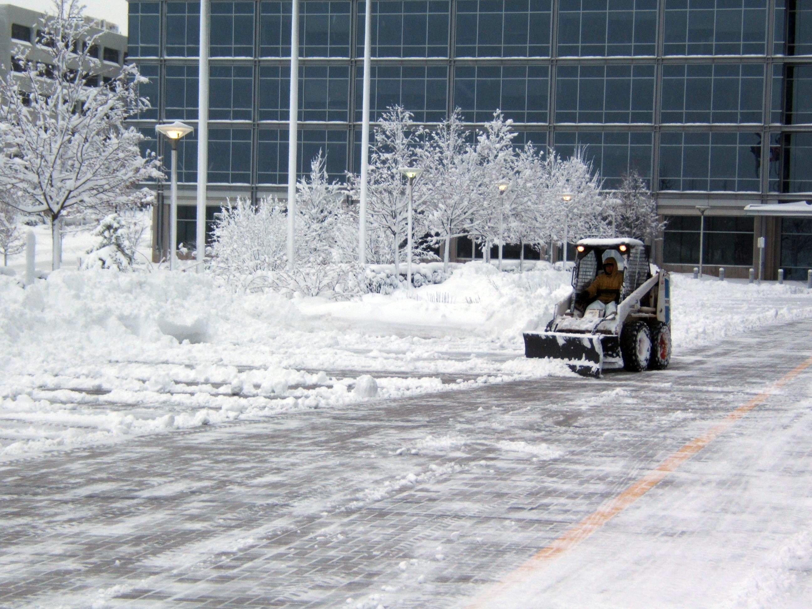 Commercial snow removal by R&S Hardscaping.