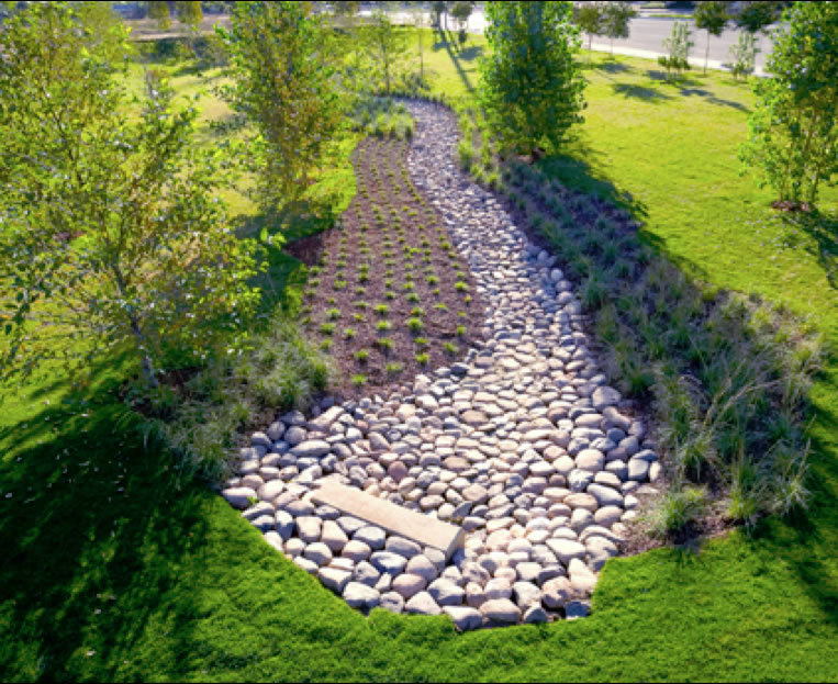 Custom Rain Gardens by R & S Hardscaping act as affordable stormwater runoff solutions.