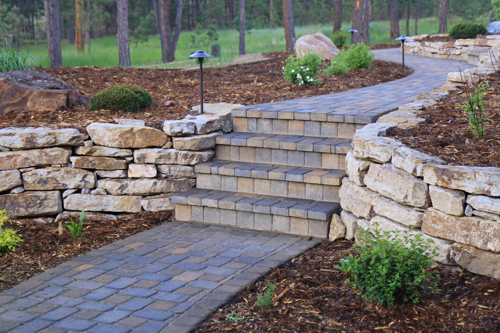 Beautiful paver patios and walks by R & S Hardscaping.