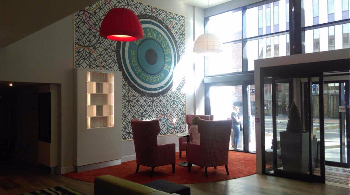 The lobby at the Holiday Inn, Birmingham city centre