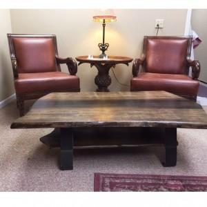 Live Edge Coffee Table With Shelf