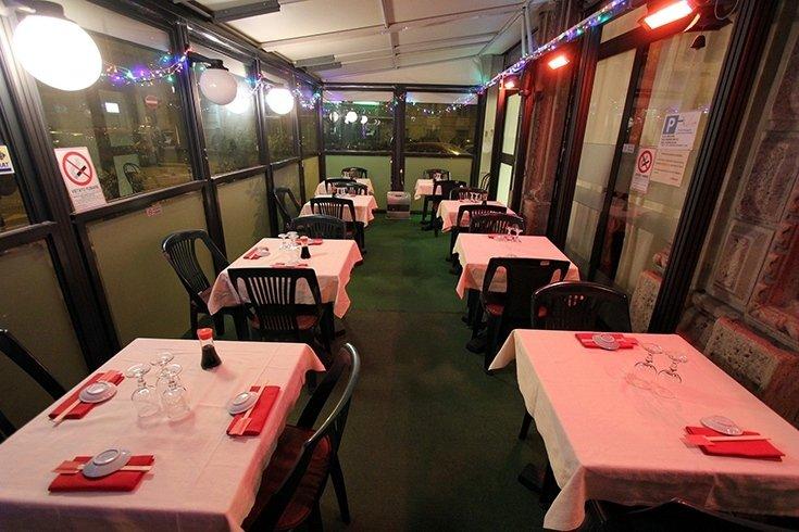 restaurant with a veranda