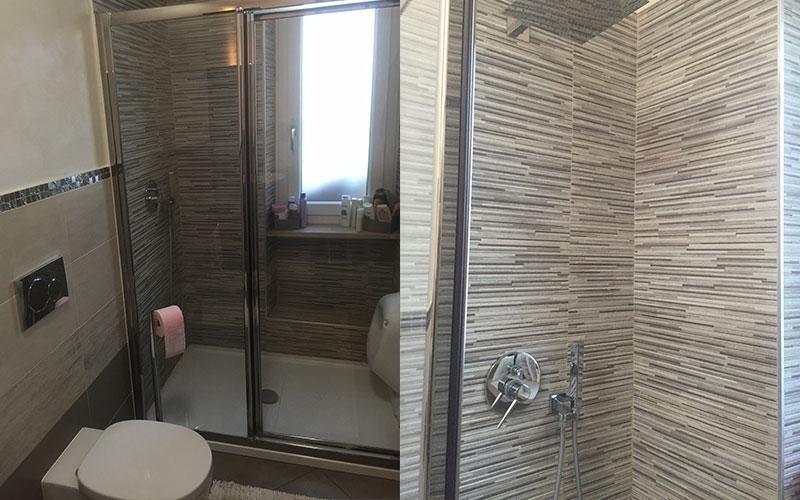 vista frontale di un box doccia e sanitari