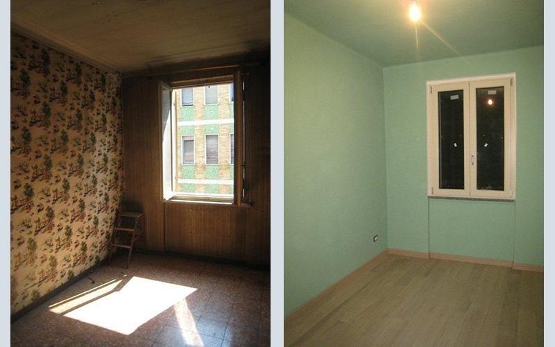 stanza prima e dopo la ristrutturazione