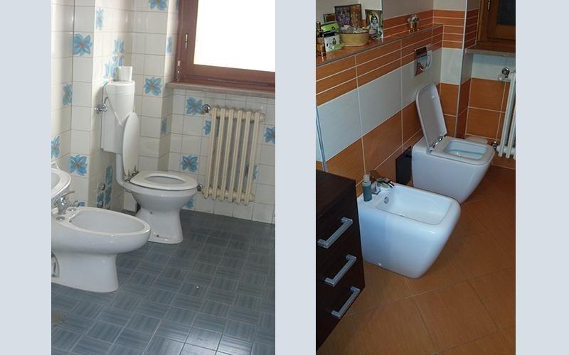 prima e dopo una ristrutturazione in un bagno