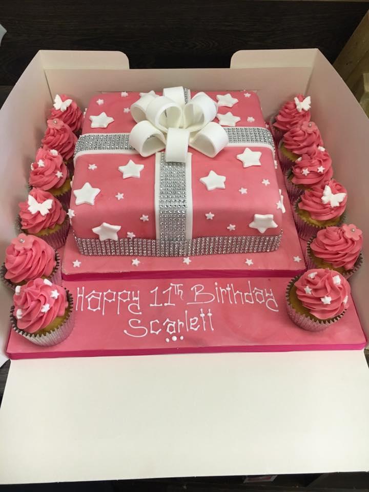 pink box cake icing