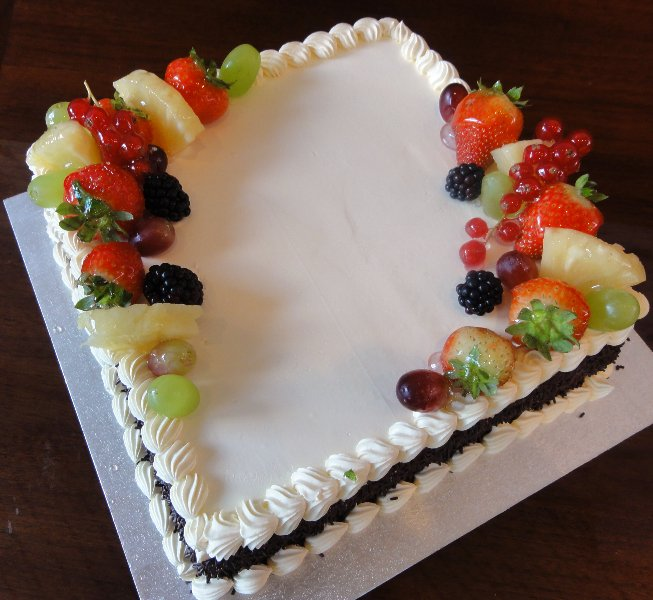 fruits on cake