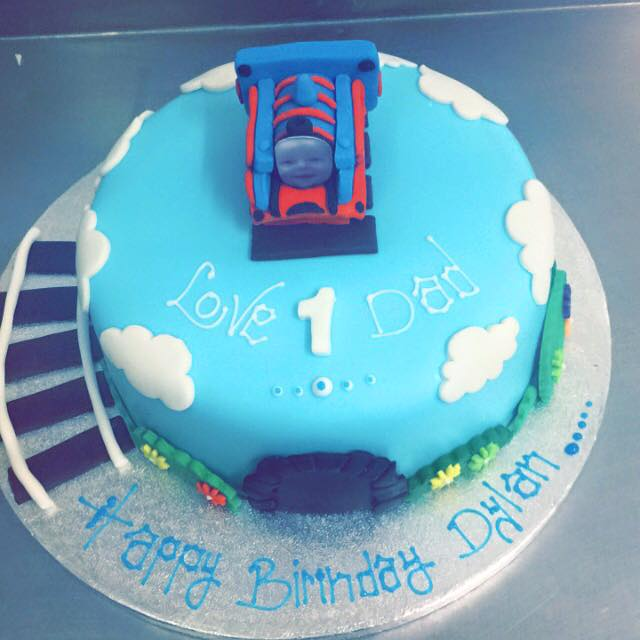 blue train  cake
