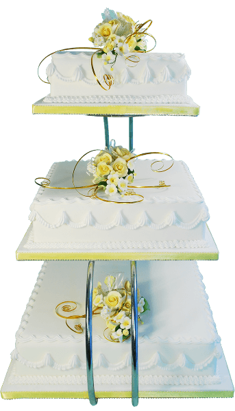 three tier rectangle wedding cake