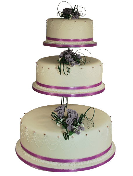 pink ribbon three tier wedding cake
