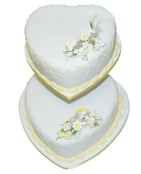 two tier heart yellow wedding cake