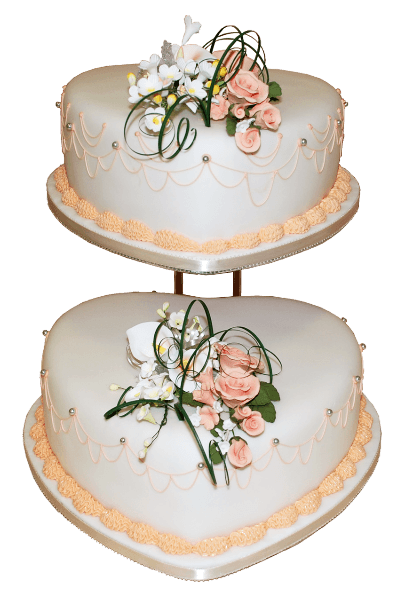 orange flower two tier wedding cake