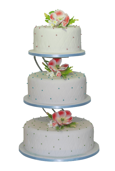 three tier large flower wedding cake