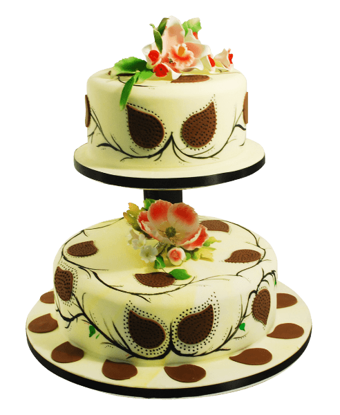 brown leaf wedding cake