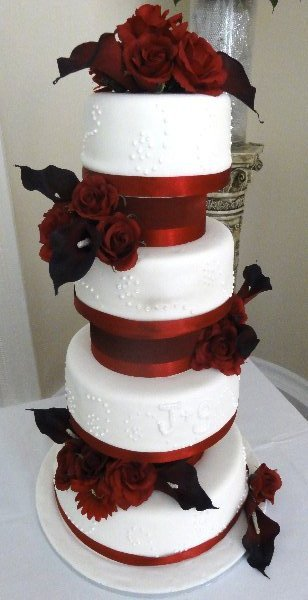 red ribbon wedding cake