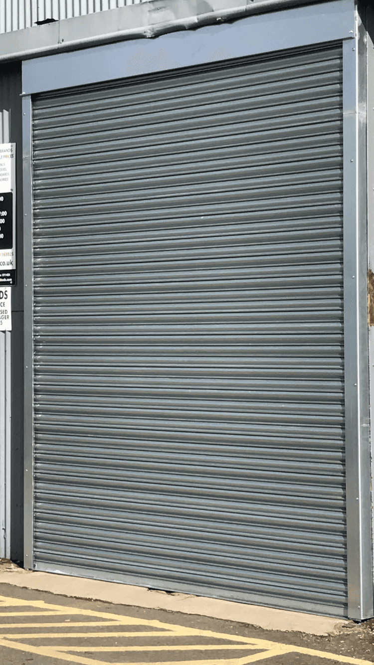 one grey garage shutter