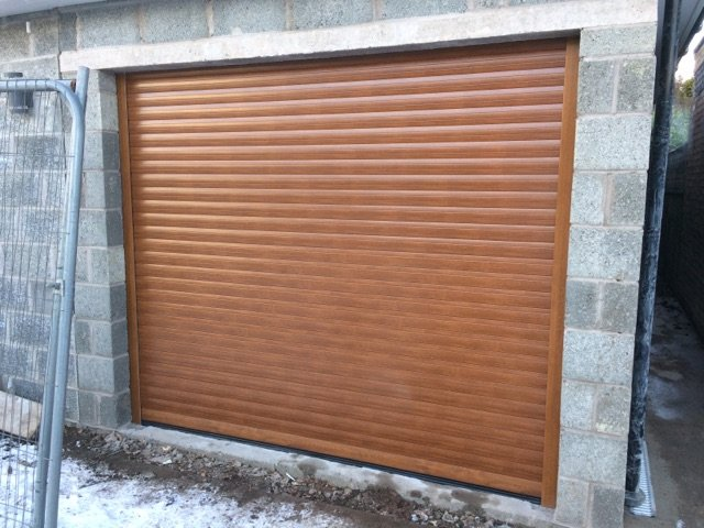 A brown garage
