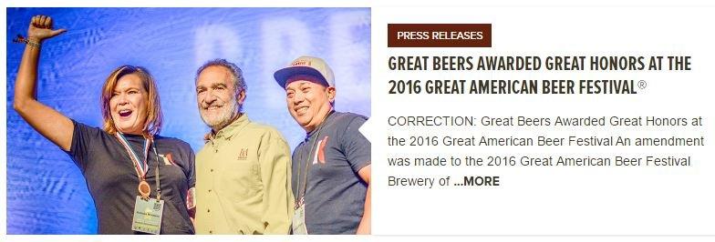 Great American Beer Festival 2016 Bronze Medal Winner
