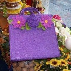borsa in tessuto viola
