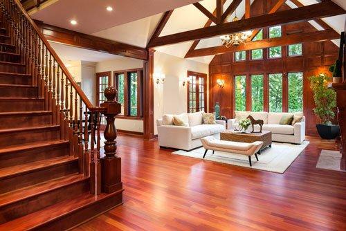 Beautiful large living room interior with hardwood floors