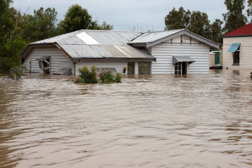 House in floodwater