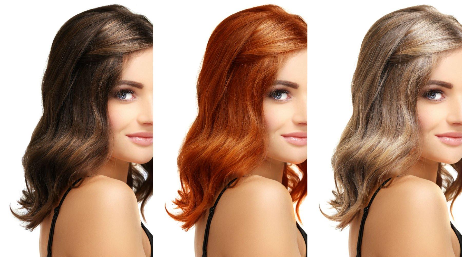 modella con parrucche di colori diversi