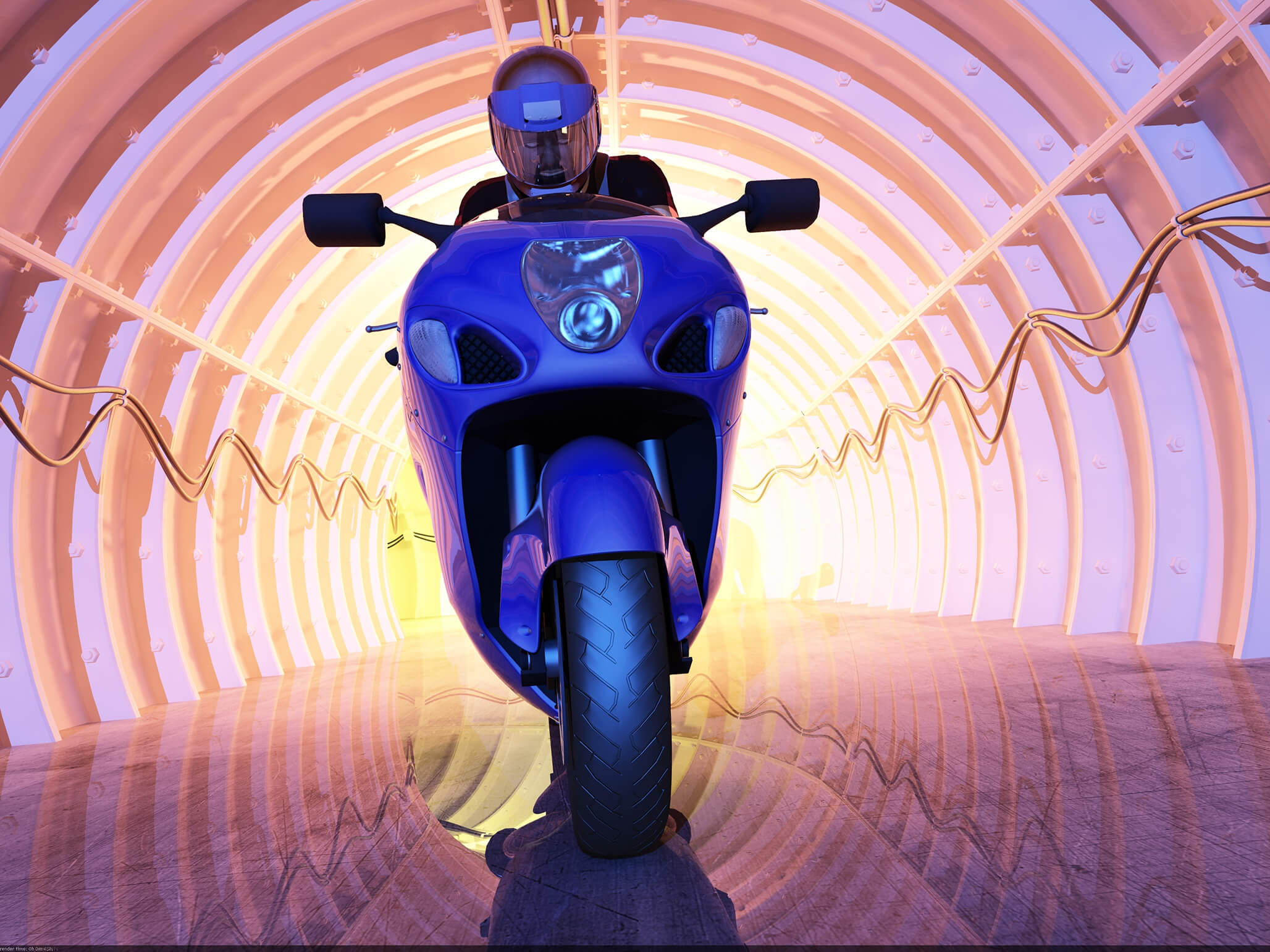 motorcycle in tunnel