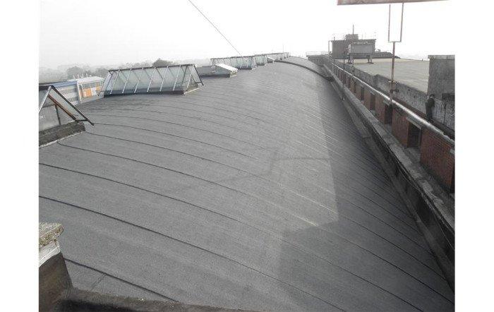 un tetto curvo rivestito di grigio scuro