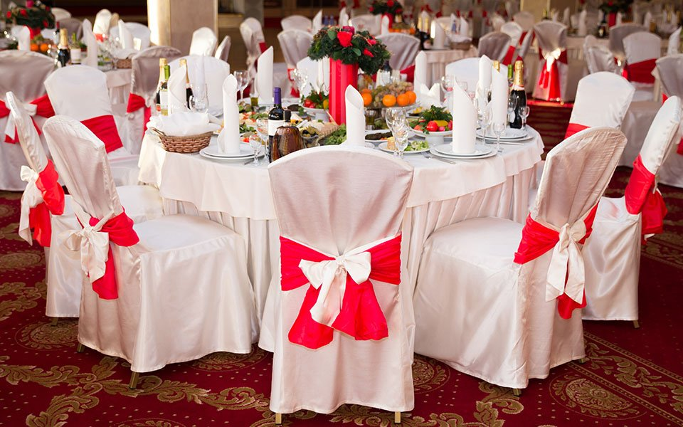 table setting for a red and white event
