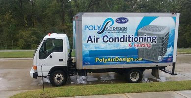 Poly Air Design's emergency AC service truck in Spring, TX