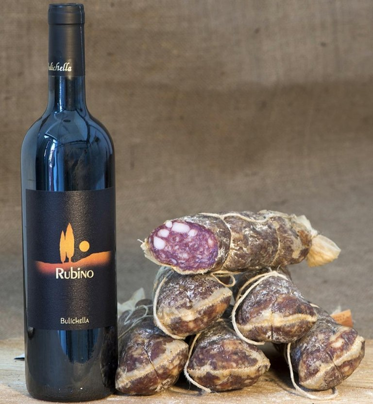 Salami infused with Rubino wine