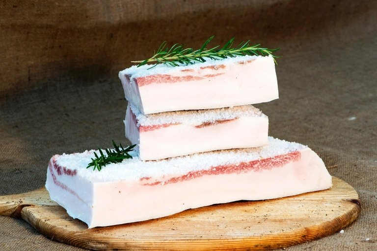 Lardo in vasca di marmo - bacon fat preserved in marble containers in line with a centuries-old method