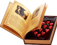 An old book surrounded by heart shape images