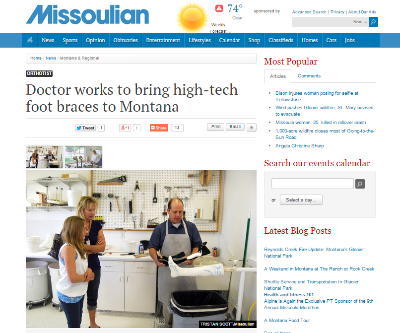 """""""Doctor works to bring high-tech foot braces to Montana"""""""