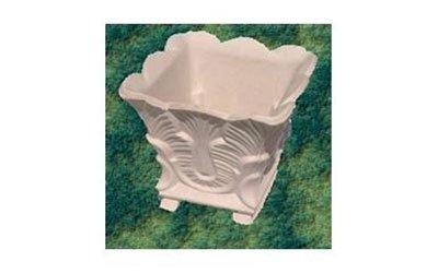 Vaso quadrato con ornamento di foglie